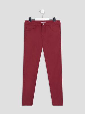 Pantalon slim taille ajustable bordeaux fille