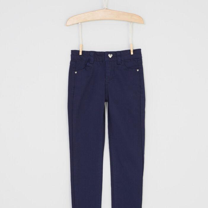 Pantalon skinny avec bouton cœur fille bleu marine