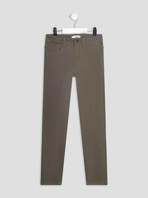 Pantalon skinny stretch vert kaki garcon