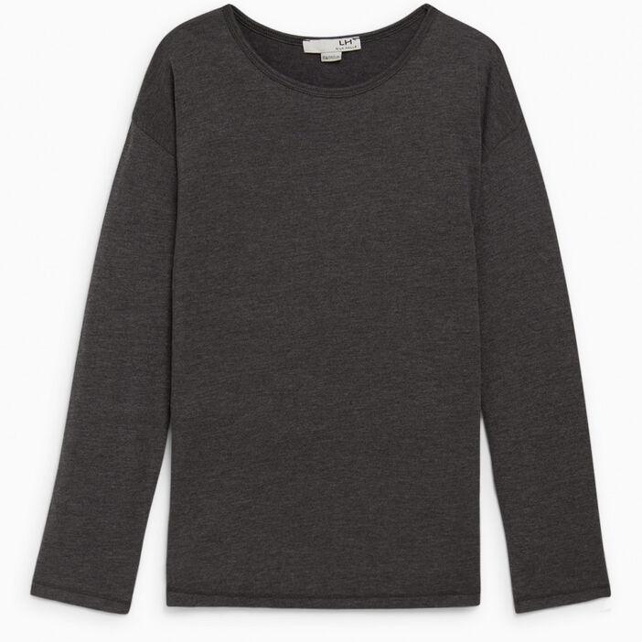 T-shirt col rond uni fille gris foncé