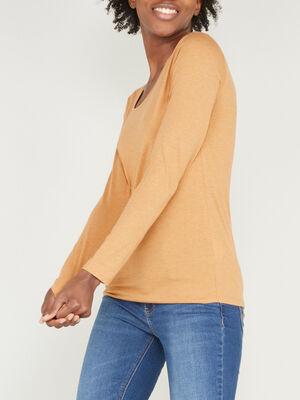 T shirt uni a col rond jaune moutarde femme