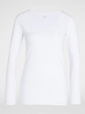 T shirt uni lisere contrastant blanc femme