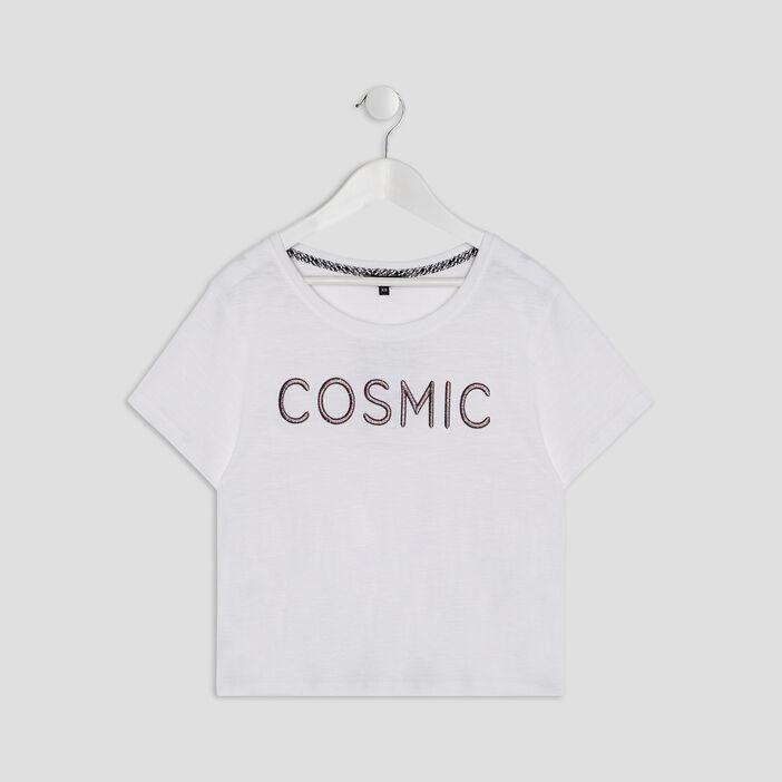 T-shirt manches courtes fille ecru