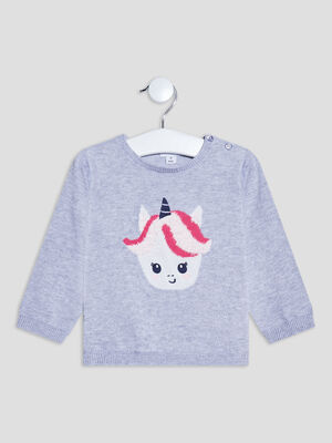 Pull avec col rond gris bebef