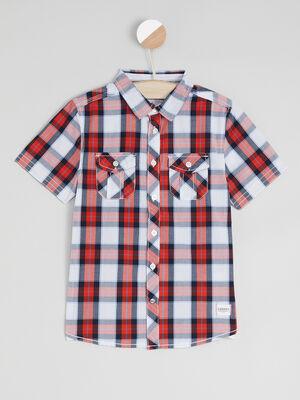Chemise a carreaux en coton rouge garcon
