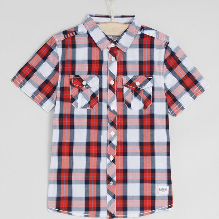Chemise à carreaux en coton garçon rouge