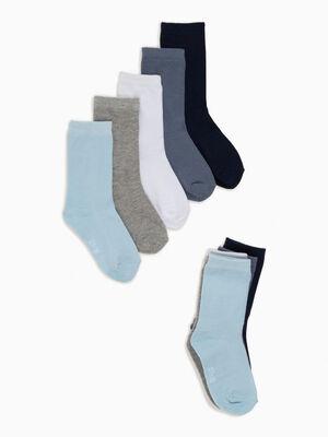 Lot 5 paires chaussettes unies bleu ciel mixte