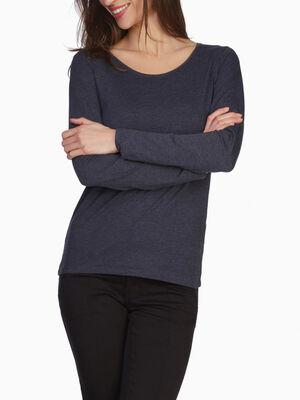 T shirt uni a manches longues bleu marine femme