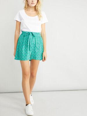 Short ample fluide vert femme