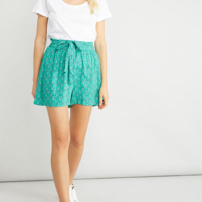 Short ample fluide femme vert