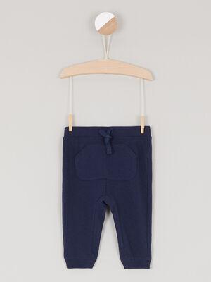 Pantalon uni en maille bleu marine garcon