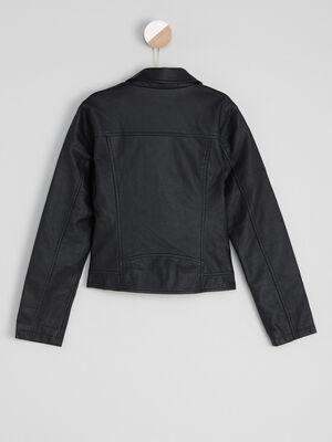 Blouson similicuir zippe esprit motard noir fille