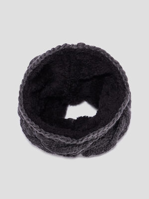 Snood fourre a torsades gris mixte
