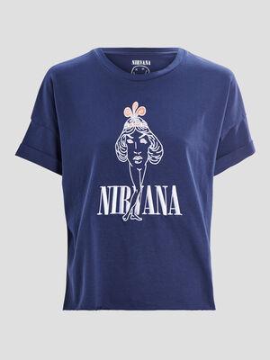 Sweat manches courtes Nirvana bleu marine femme