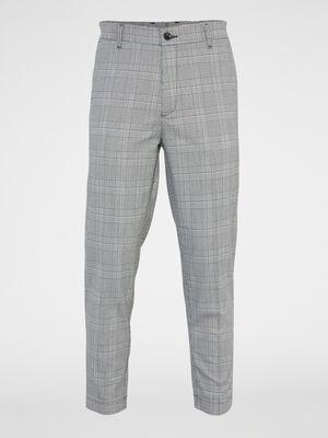 Pantalon droit a carreaux gris homme