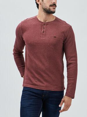 T shirt manches longues bordeaux homme