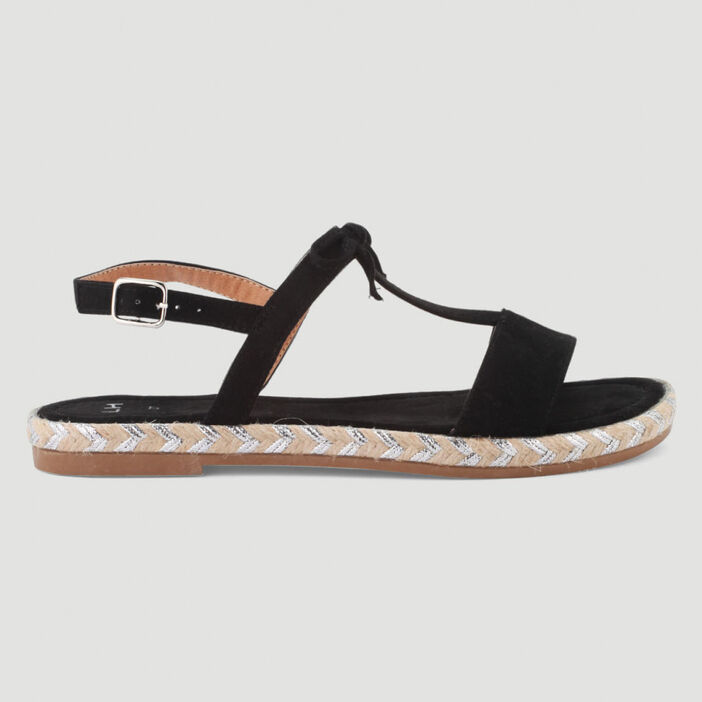 Sandales dorées motifs et boucle femme noir