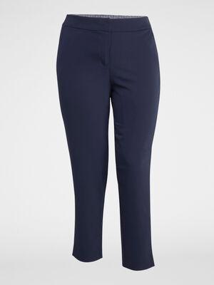 Pantalon uni coupe cigarette bleu marine femme