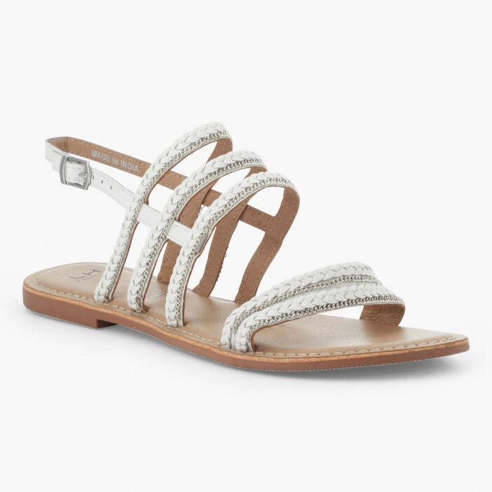 Sandales brides tressées cuir femme blanc