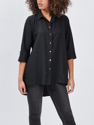 Chemise manches 34 noir femme