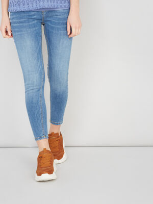 Jean coupe skinny coutures contrastees denim double stone femme