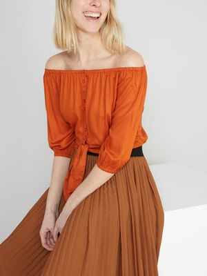 Chemisier court col bardot orange fonce femme