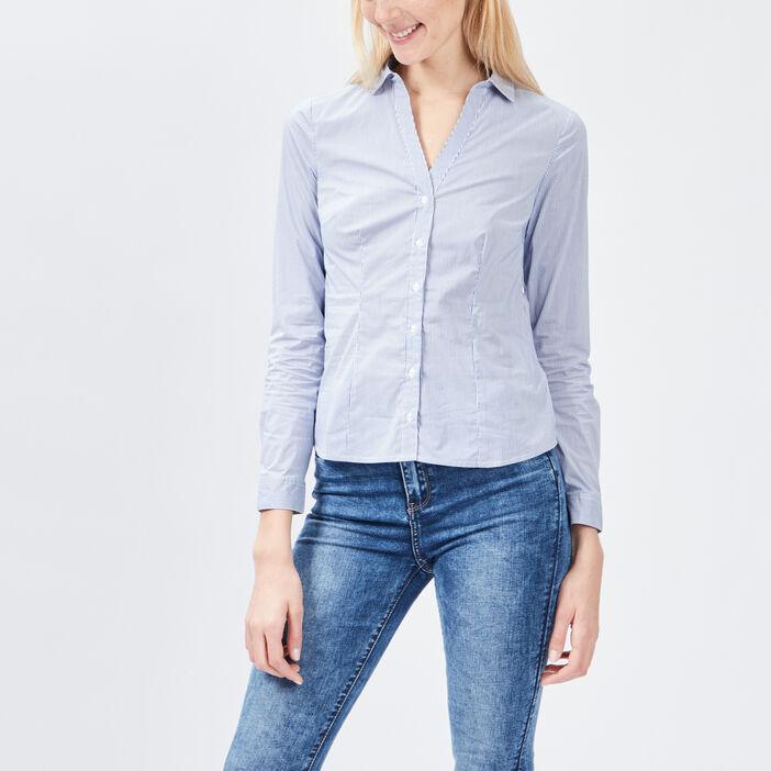 Chemise manches longues femme bleu