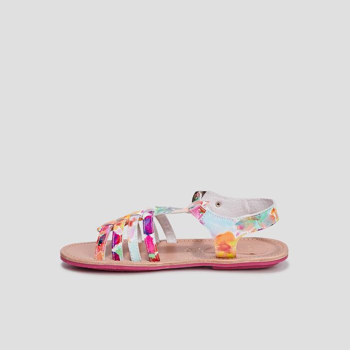 Sandales en cuir fille multicolore