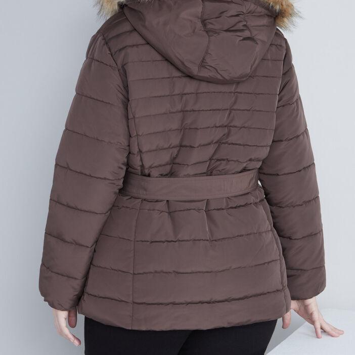 Doudoune ceinturée capuche femme grande taille marron