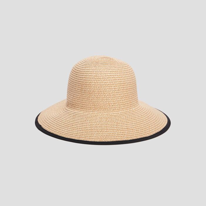 Chapeau en paille femme noir