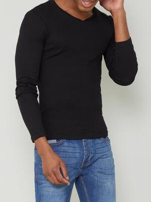 T shirt en coton uni noir homme