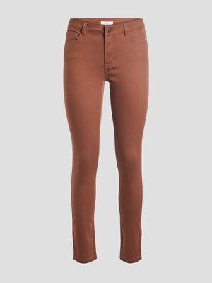 Pantalon skinny taille basse marron cognac femme