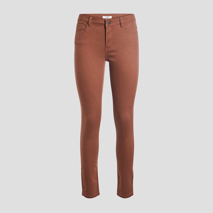 Pantalon skinny taille basse femme marron cognac