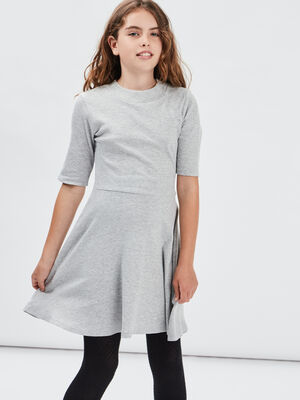 Robe patineuse manches 34 gris fille