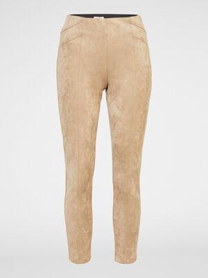 Pantalon skinny suede uni beige femme