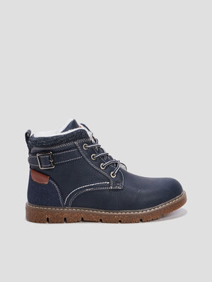 Bottines fourrees Creeks bleu marine garcon