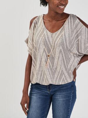 T shirt imprime graphique avec collier beige femme