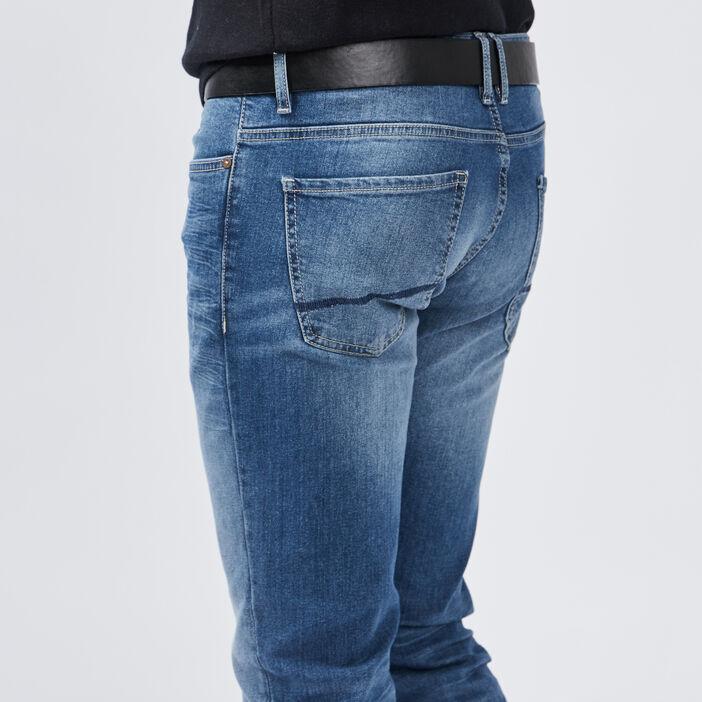 Jeans straight avec ceinture homme denim double stone