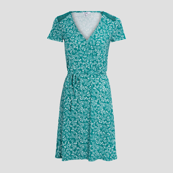 Robe droite ceinturée femme vert