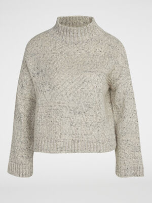 Pull tricot col montant beige femme