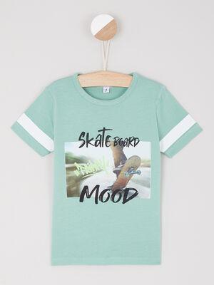 T shirt en coton avec imprime vert garcon