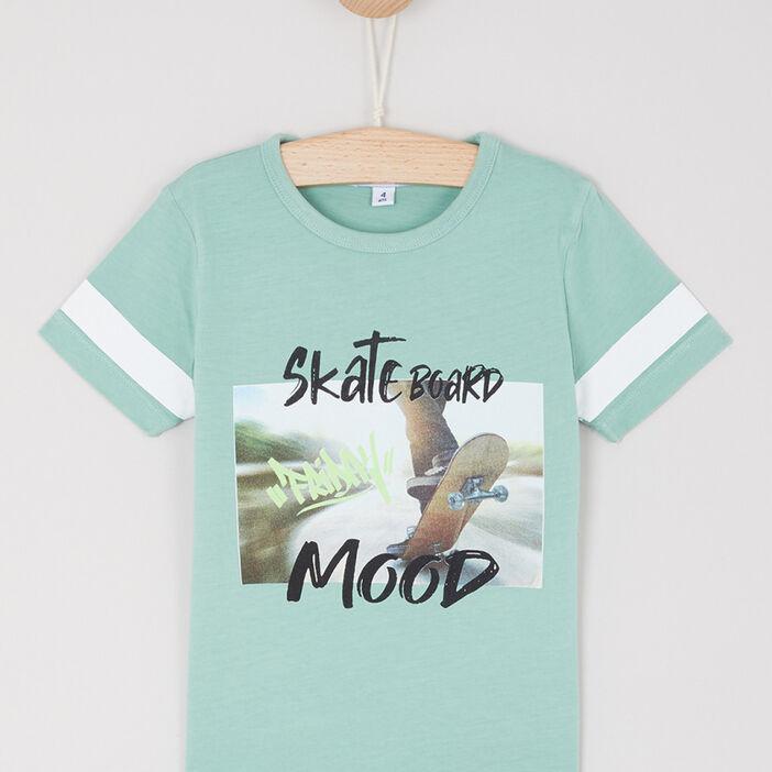 T-shirt en coton avec imprimé garçon vert