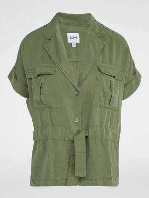 Veste saharienne unie en lyocell vert kaki femme