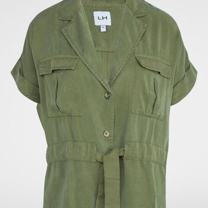 Veste saharienne unie en lyocell femme vert kaki