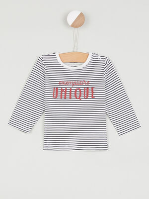 T shirt imprime place devant blanc garcon