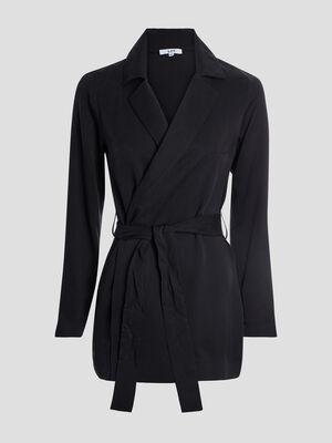 Veste droite ceinturee noir femme