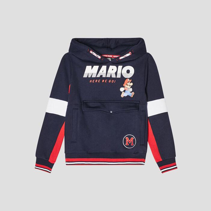Sweat à capuche Mario garçon bleu marine