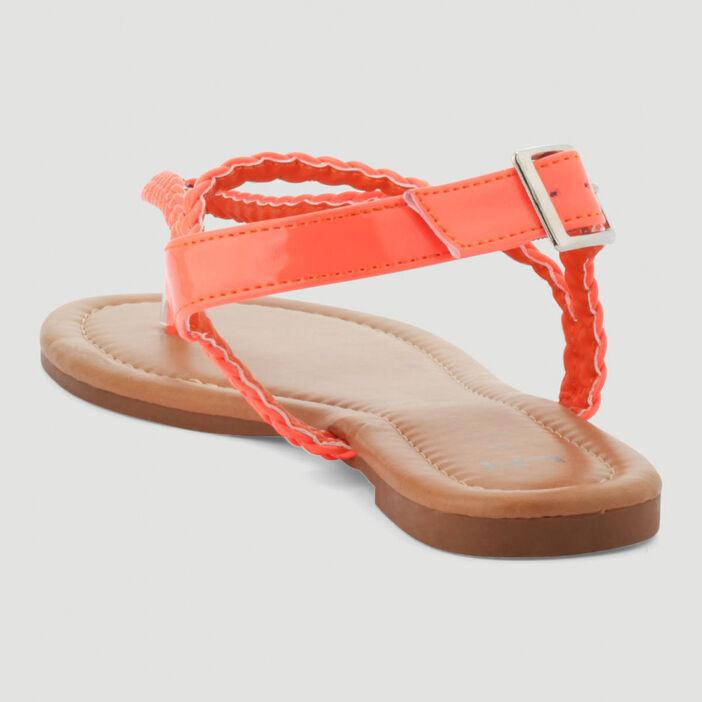 Sandales avec entredoigt tressées femme orange