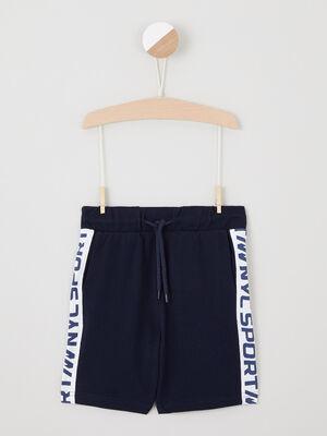 Short avec bandes contrastantes cotes bleu marine garcon