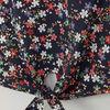 Chemise imprime fleuri details dentelle bleu marine fille